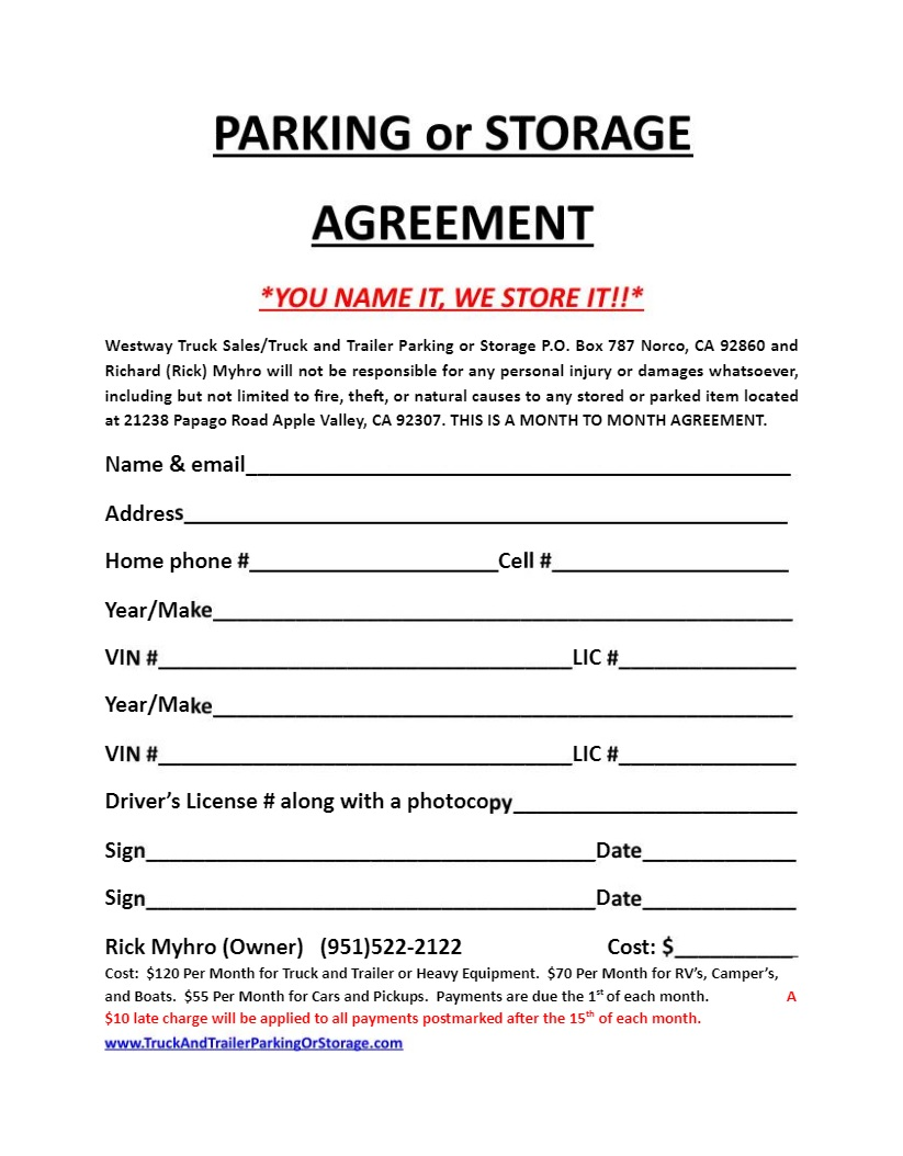 Parking Space Rental Agreement Template Sample Parking